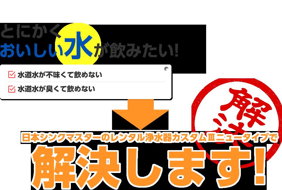 とにかくおいしい水が飲みたい! 日本シンクマスターのレンタル浄水器カスタムⅢニュータイプで解決します!
